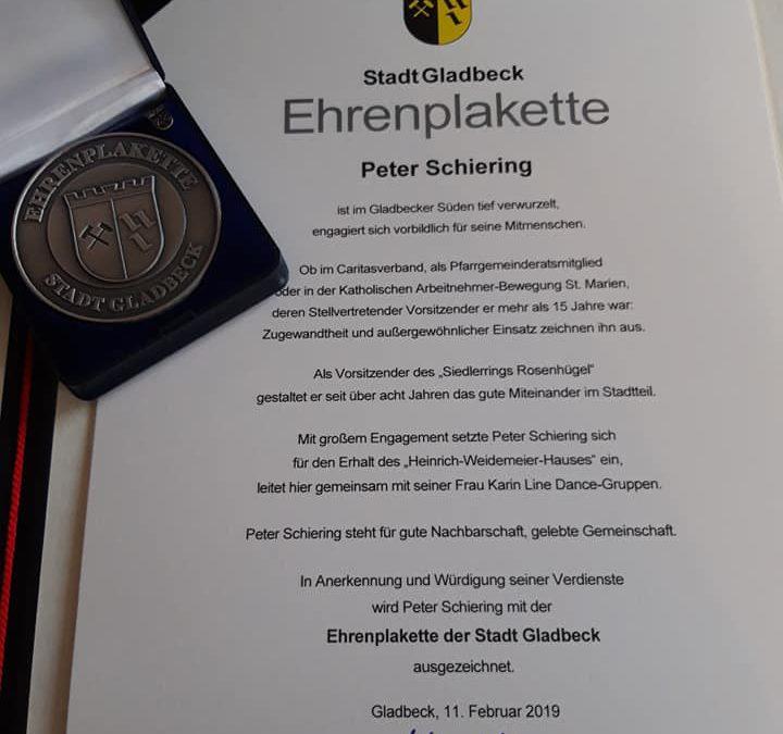 """""""Peter Schiering erhält die Stadtplakette der Stadt Gladbeck"""""""