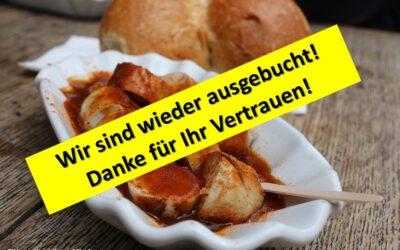 """""""Zum vorerst letzten Mal: Heimservice zum Vatertag: Es gibt Currywurst"""" (aber auch für Mütter)"""